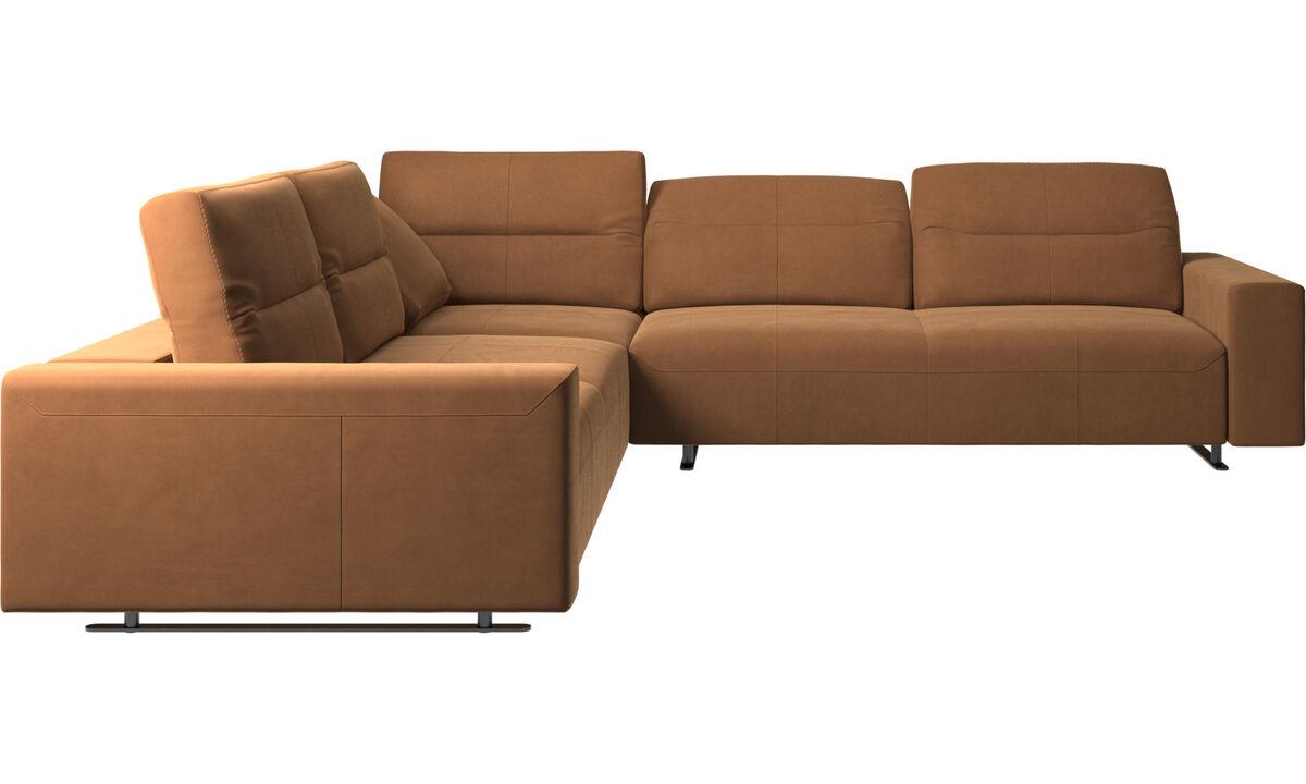 Sofás esquineros - Sofá esquinero Hampton con respaldo ajustable - En marrón - Piel