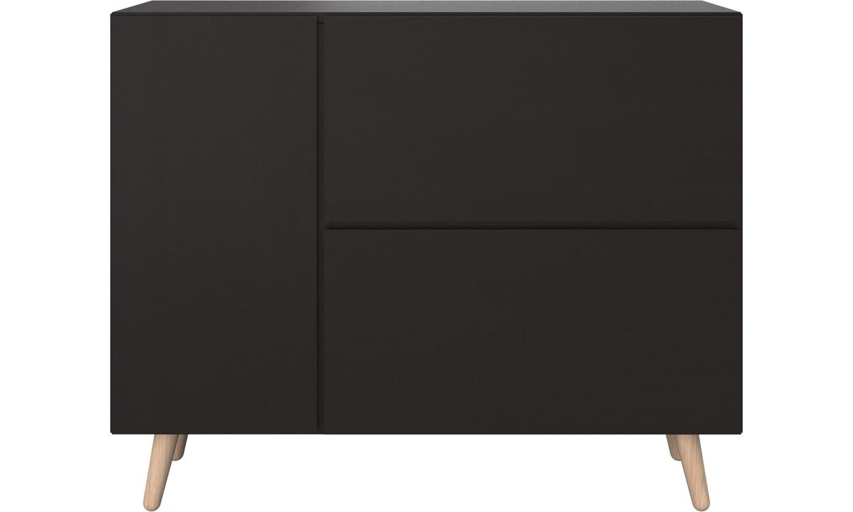 Sideboards - Lugano highboard with drop down doors - Bianco - Laccato