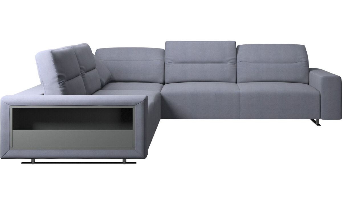 Corner sofas - Hampton corner sofa with adjustable back and storage on left side - Blue - Fabric