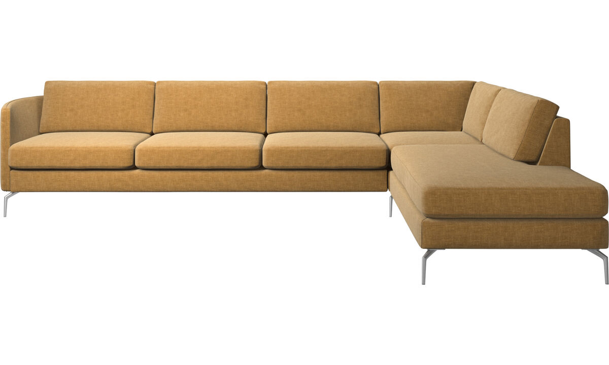Corner sofas - Osaka corner sofa with lounging unit, regular seat - Beige - Fabric