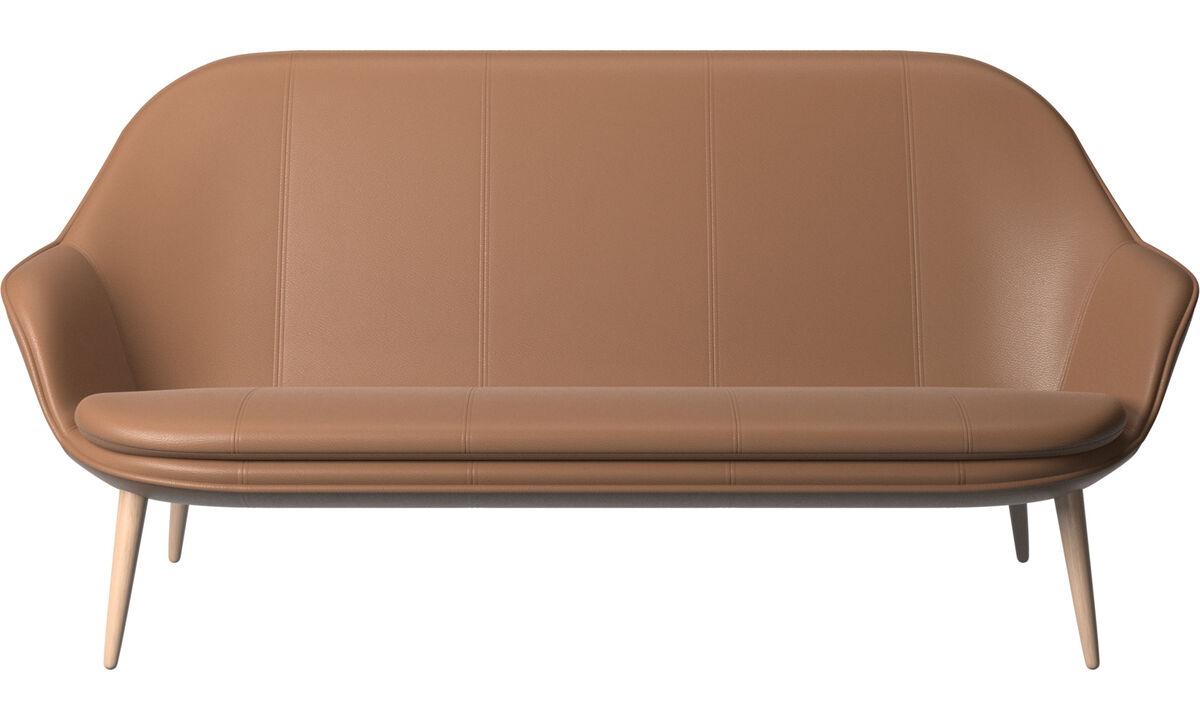 Sofás de 2 plazas y media - sofá Adelaide - En marrón - Piel
