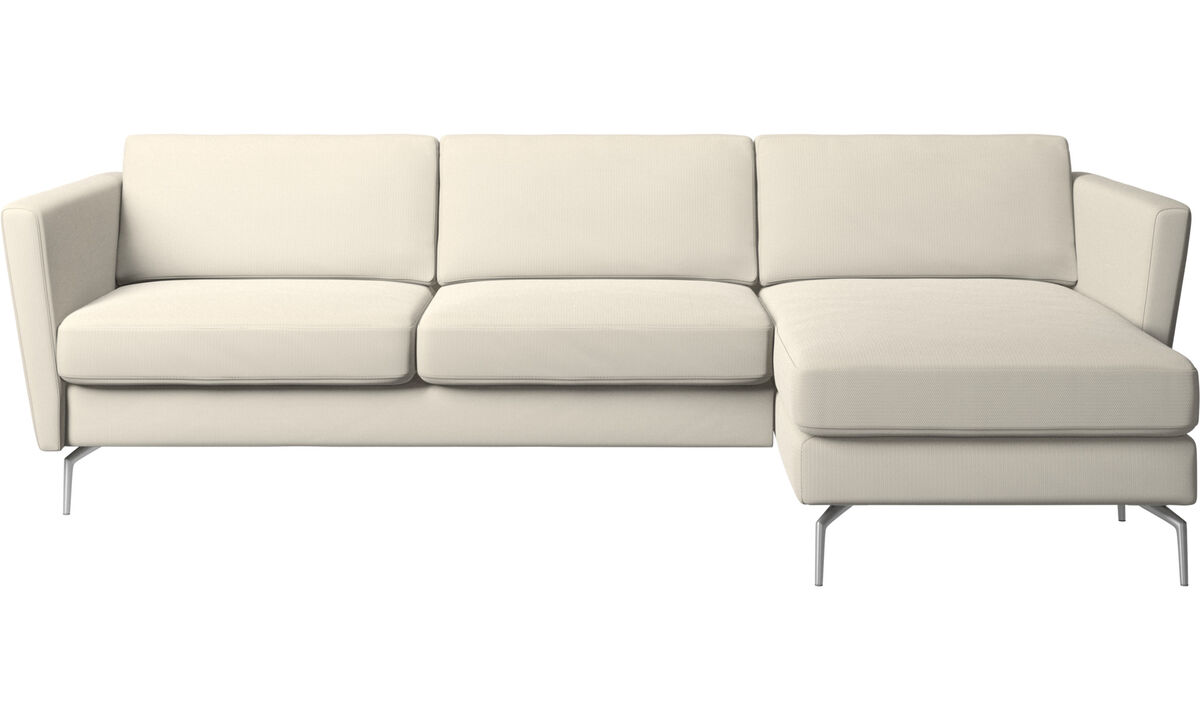 Chaise longue sofas - Osaka sofa with resting unit, regular seat - White - Fabric
