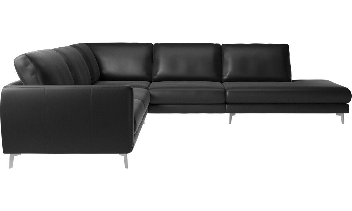 Lounge Sofas - Fargo Ecksofa mit Loungemodul - Schwarz - Leder