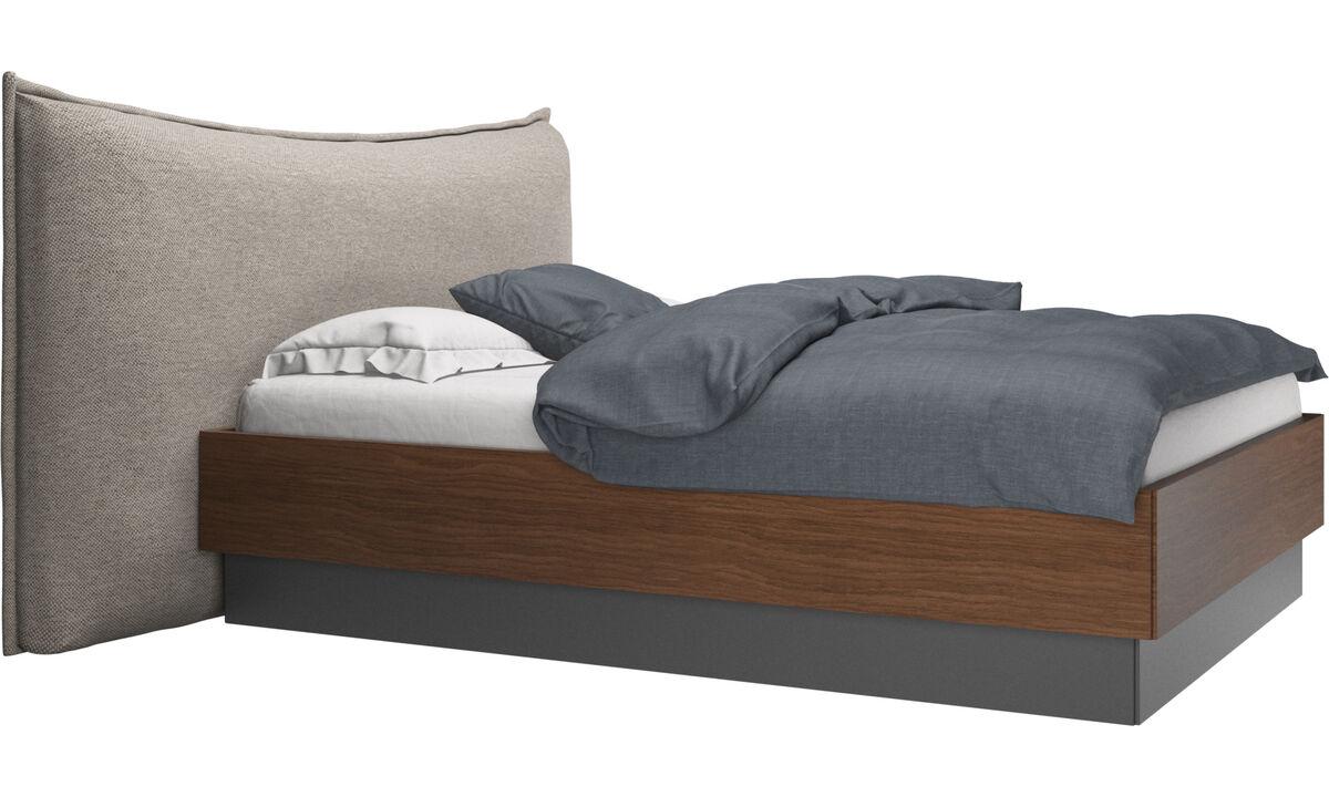 Camas - Cama con canapé, estructura elevable y tablado, no incluye colchón Gent - En beige - Tela