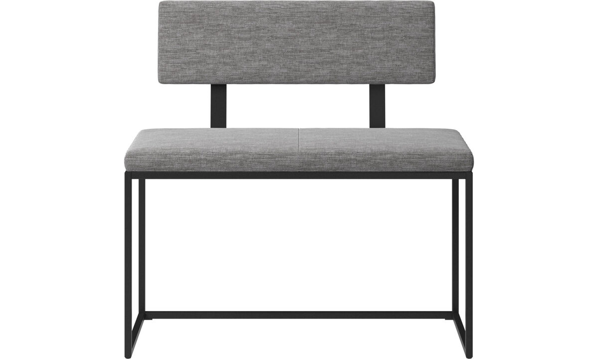 Benches - London small bench with cushion and backrest - Grey - Fabric