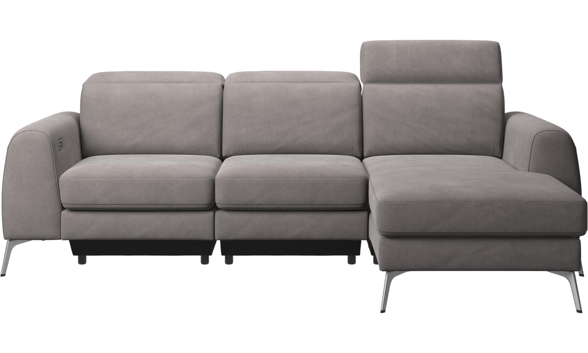 3 Sitzer Sofas   Madison Sofa Mit Ruhemodul Und Verstellbarer Kopfstütze    Grau   Stoff
