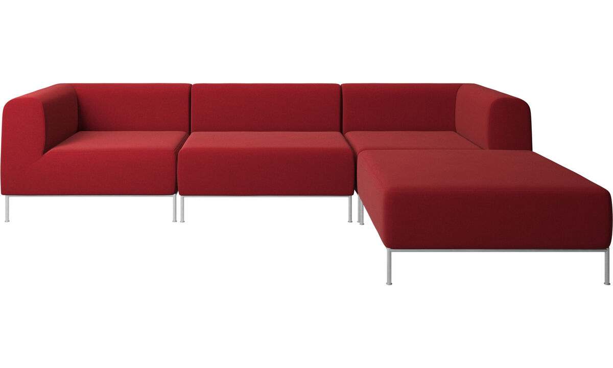 Sofaer med hvilemodul - Miami sofa med puf på højre side - Rød - Stof