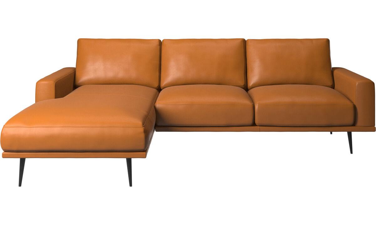 Szezlongi - Sofa Carlton z szezlongiem - Brązowy - Skóra