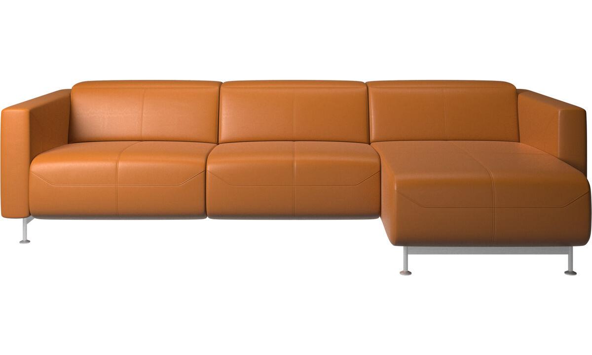 Sofás reclináveis - Parma, sofá reclinável com chaise-lounge - Castanho - Pele