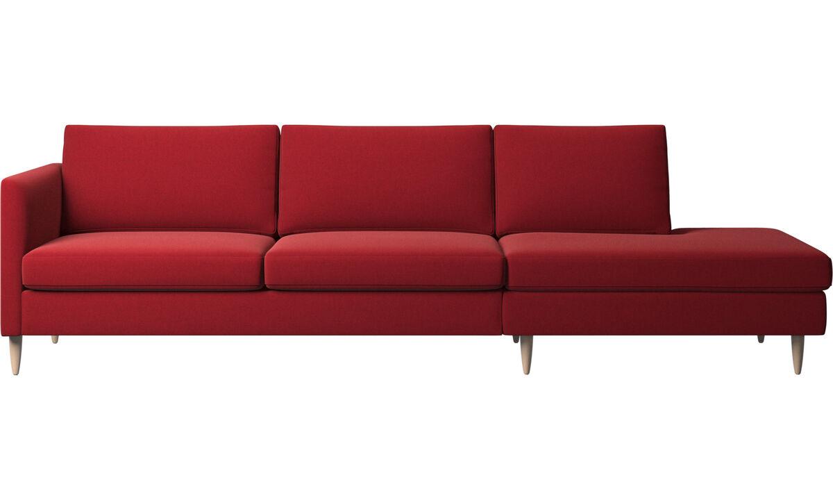 Sofás com canto aberto - sofá Indivi com módulo de descanso - Vermelho - Tecido
