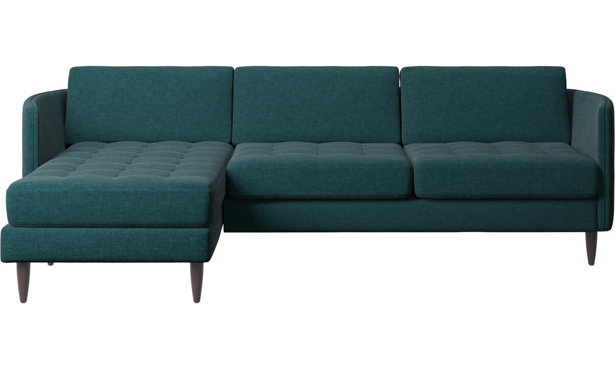Chaise lounge sofas - Osaka sofa with resting unit, tufted seat - Blue - Fabric
