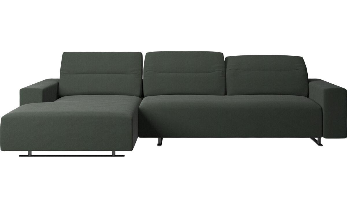 Sofás com chaise - Sofá Hampton com parte traseira ajustável e unidade esquerda do lado esquerdo, lado direito do armazenamento - Verde - Tecido