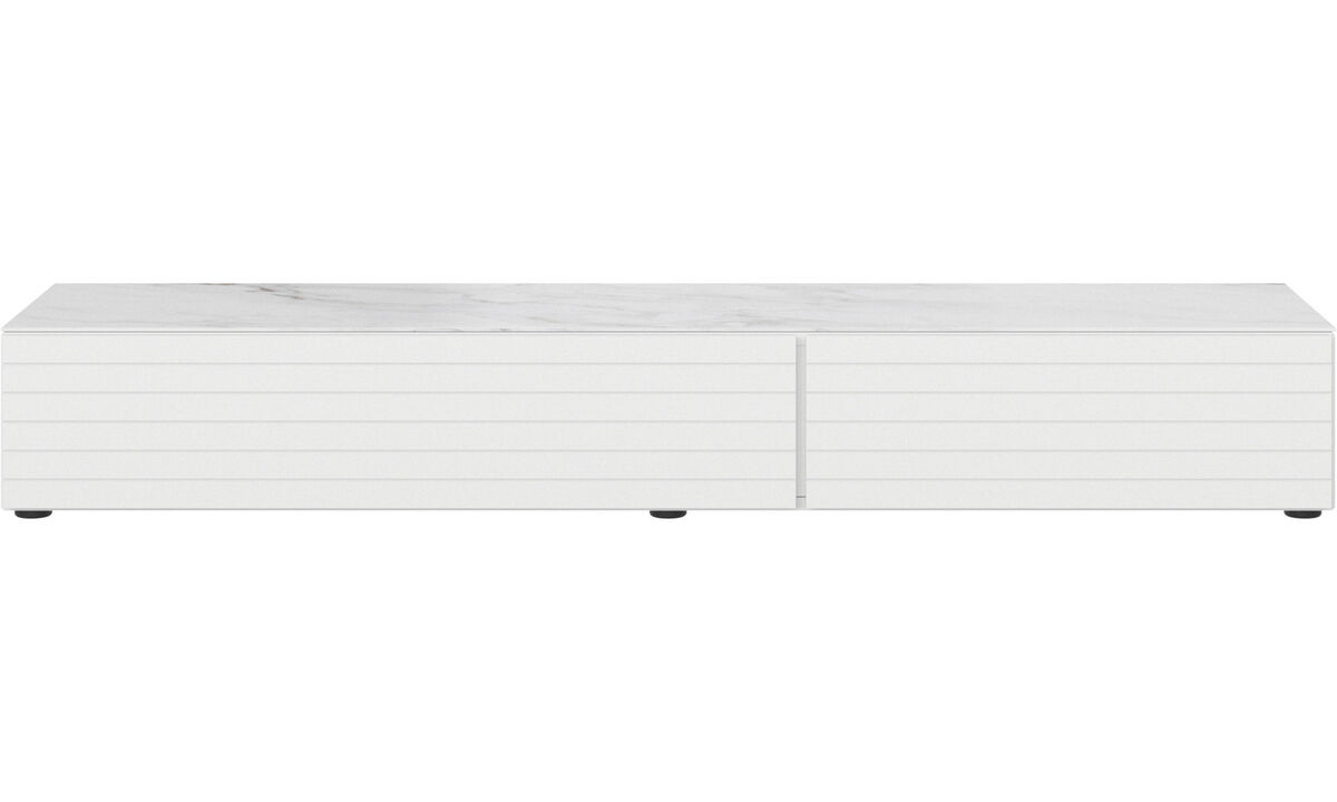 Tv units - Lugano base cabinet with drawer, drop-down door and top-plate - White - Lacquered