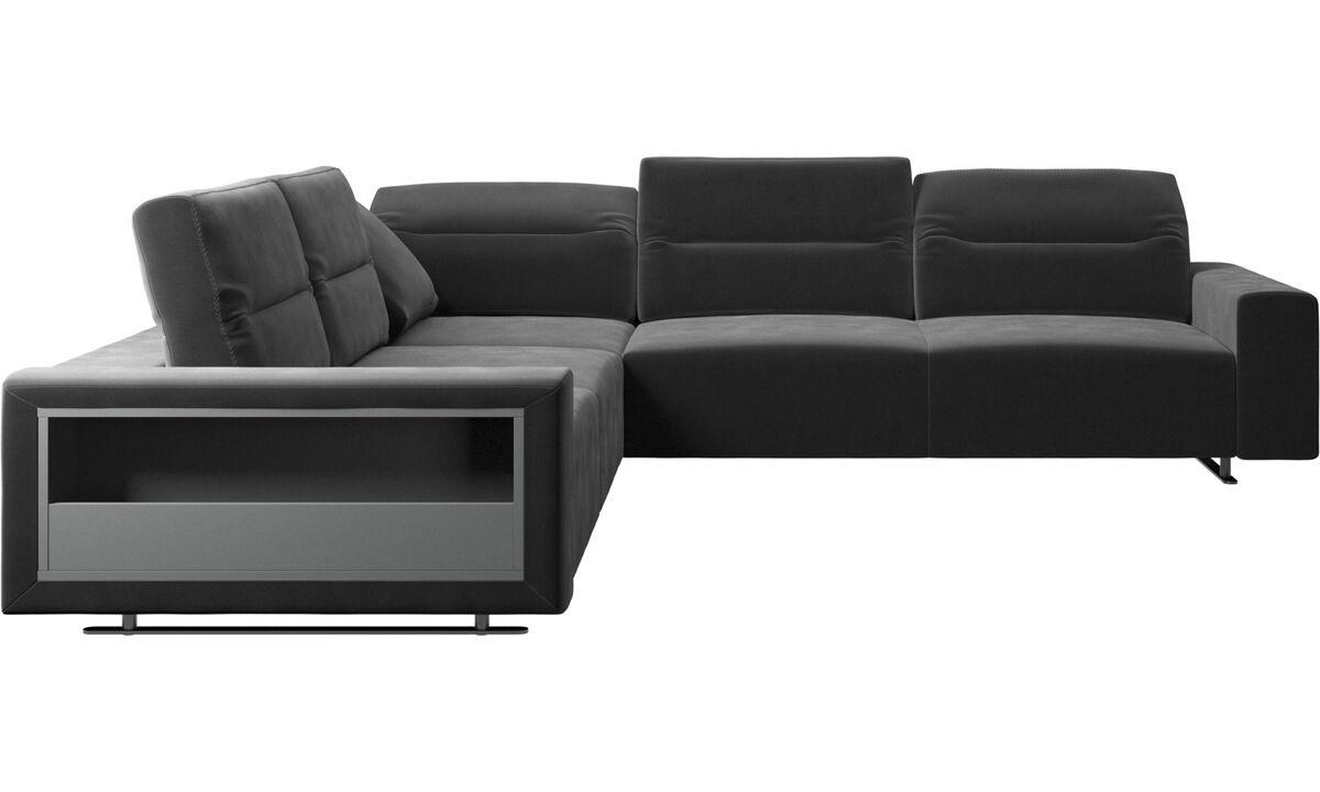 Corner sofas - Hampton corner sofa with adjustable back and storage - Black - Fabric