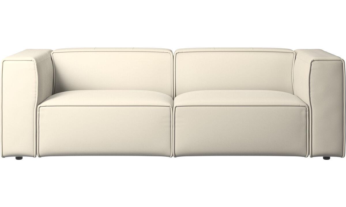Sofás reclinables - Sofá Carmo con movimiento - Blanco - Piel