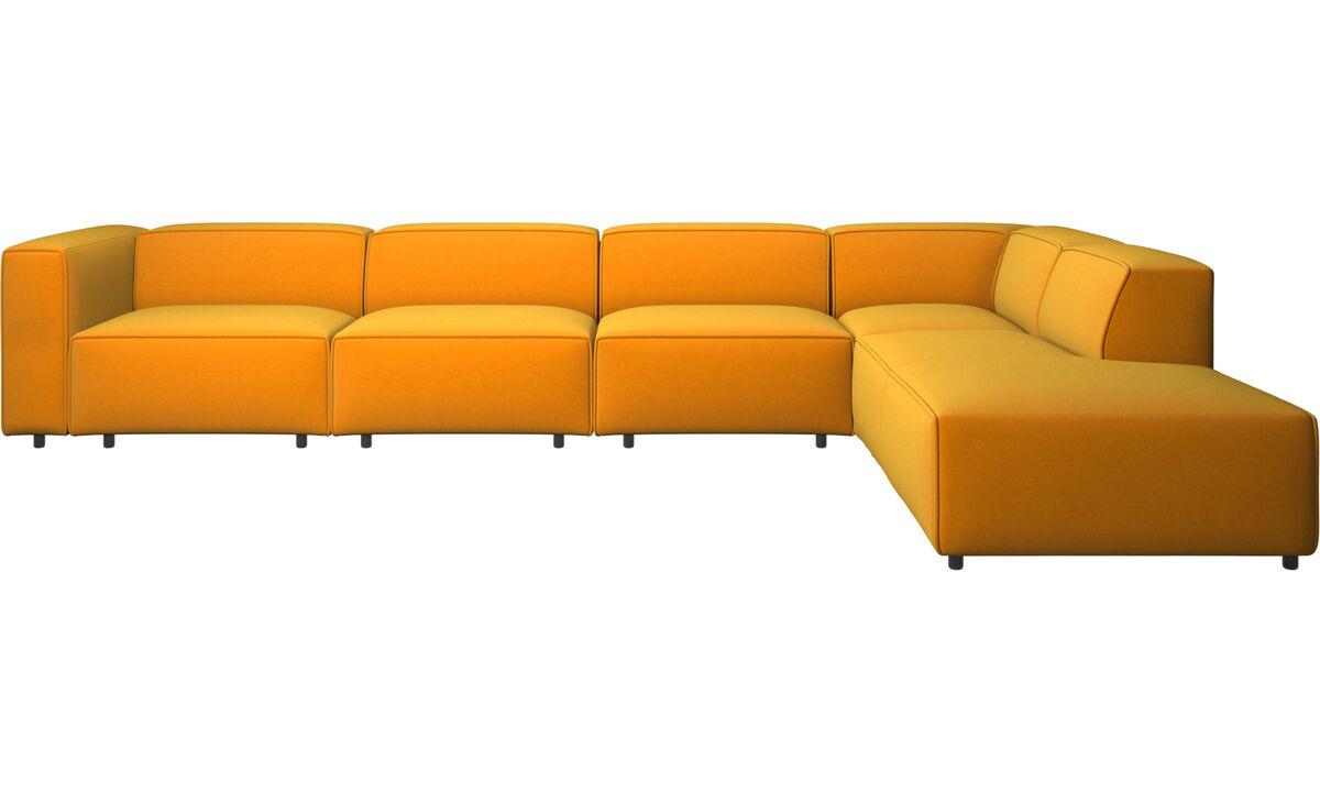 Sofas with open end - Carmo motion corner sofa - Orange - Fabric