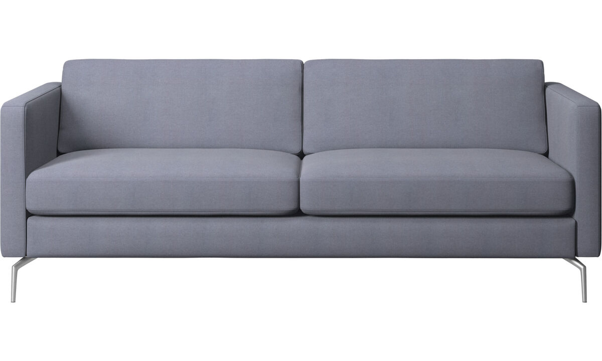 Canapés 2 places et demi - canapé Osaka, assise classique - Bleu - Tissu