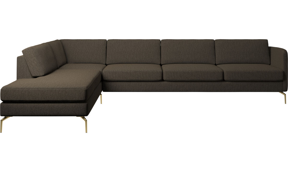 Sofas with open end - Osaka corner sofa with lounging unit, regular seat - Brown - Fabric