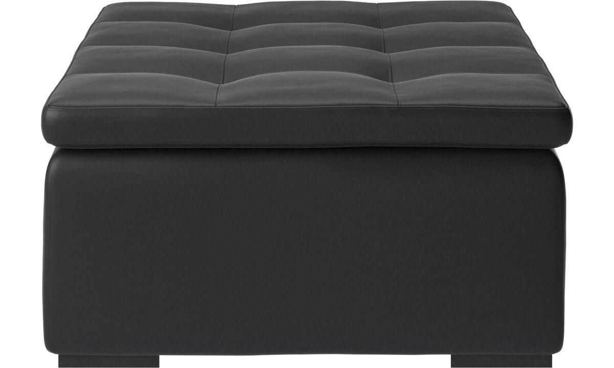Footstools - Mezzo footstool - Black - Leather