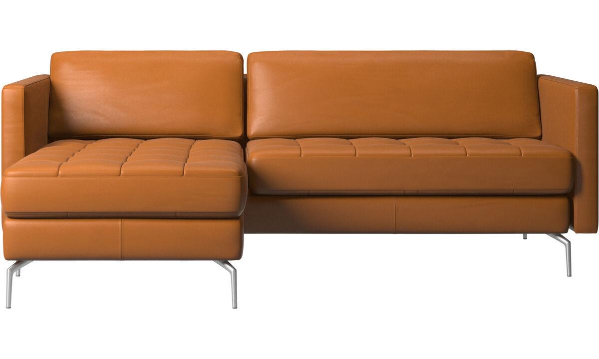 Sofas mit Récamiere - Osaka Sofa mit Ruhemodul, getuftete Sitzfläche - Braun - Leder