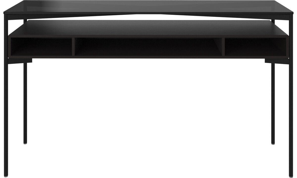 Console tables - Los Angeles console table with storage - shelf - rectangular - Brown - Glass