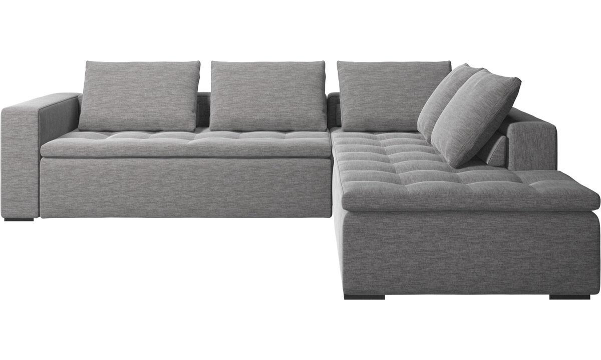 Corner sofas - Mezzo corner sofa with lounging unit - Gray - Fabric