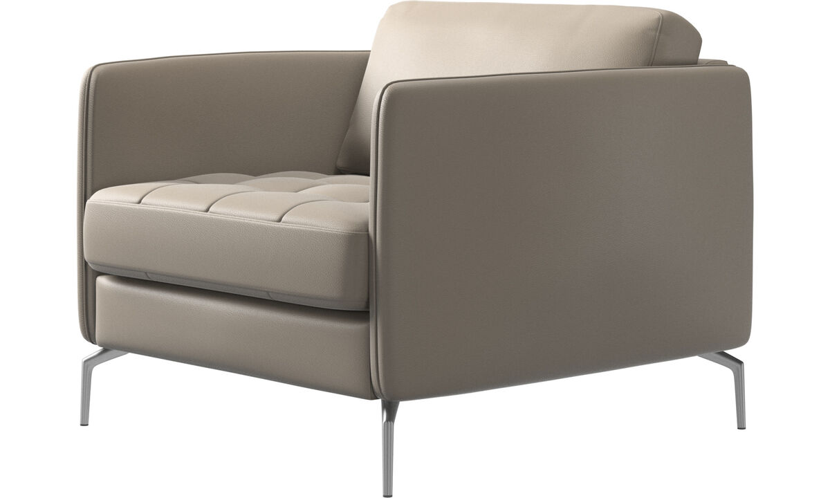 Armchairs - Osaka chair, tufted seat - Beige - Leather