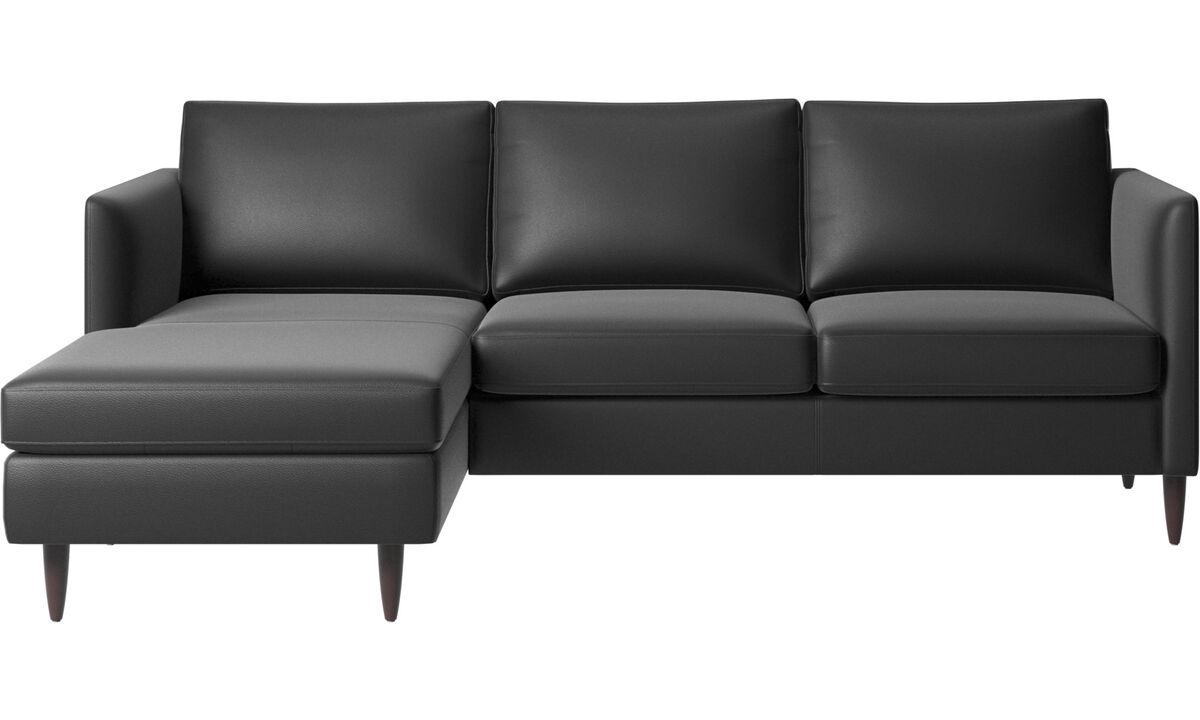 Chaise longue sofas - Indivi divano con penisola relax - Nero - Pelle