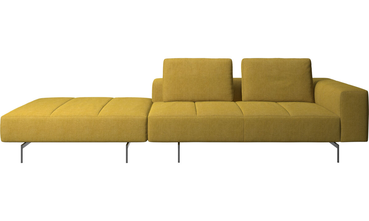 3 seater sofas - Amsterdam sofa with footstool on left side - Yellow - Fabric