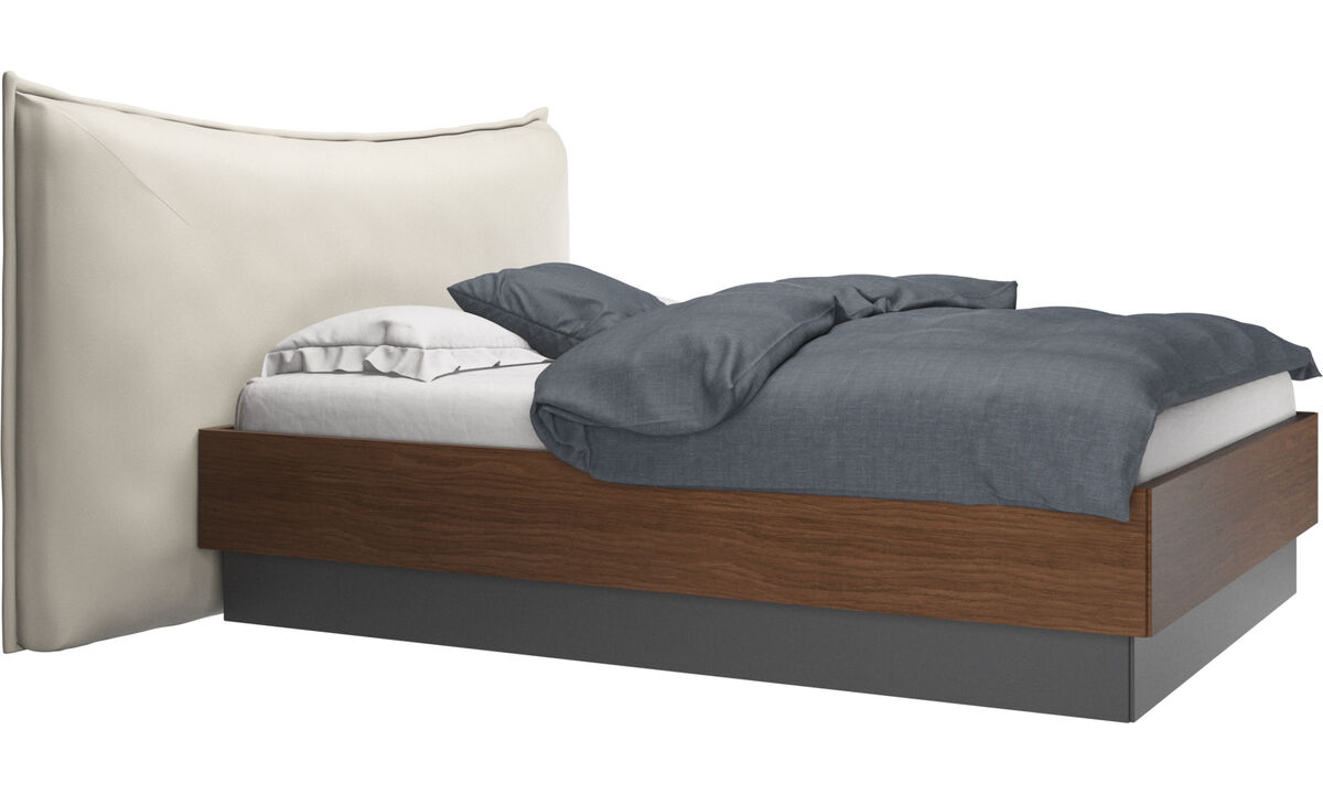 Nuevas camas - Cama con canapé, estructura elevable y tablado, no incluye colchón Gent - Blanco - Piel