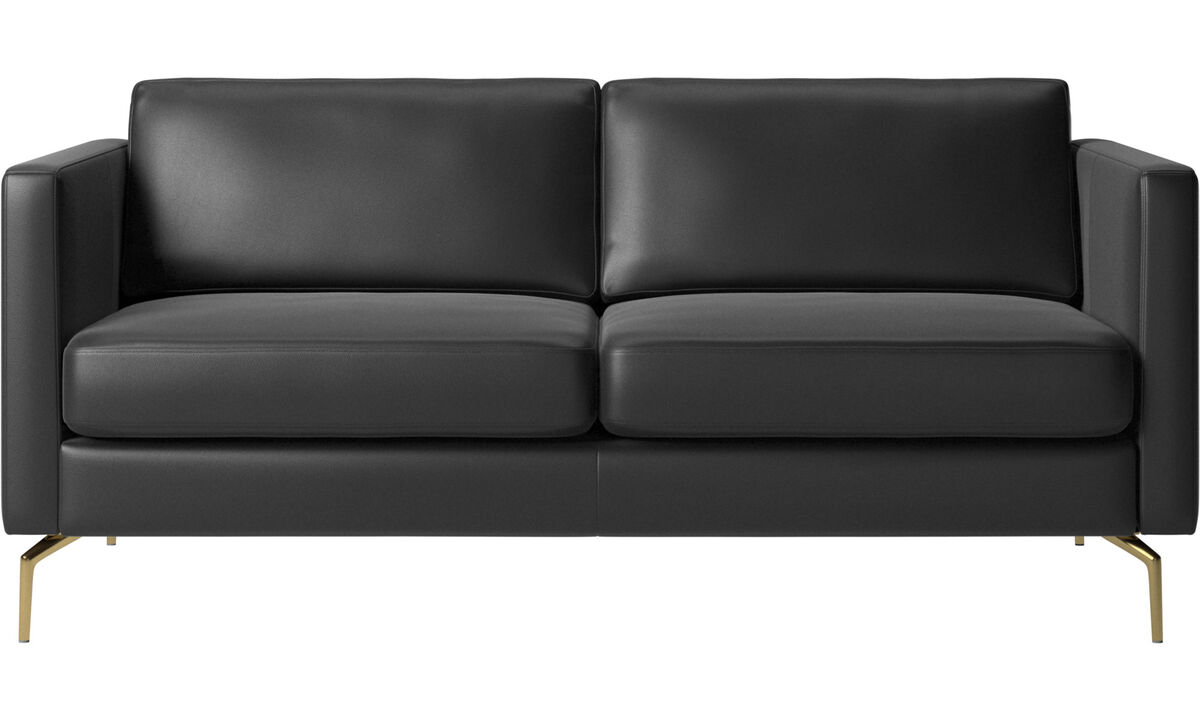 Sofás de 2 plazas - sofá Osaka, asiento regular - En negro - Piel