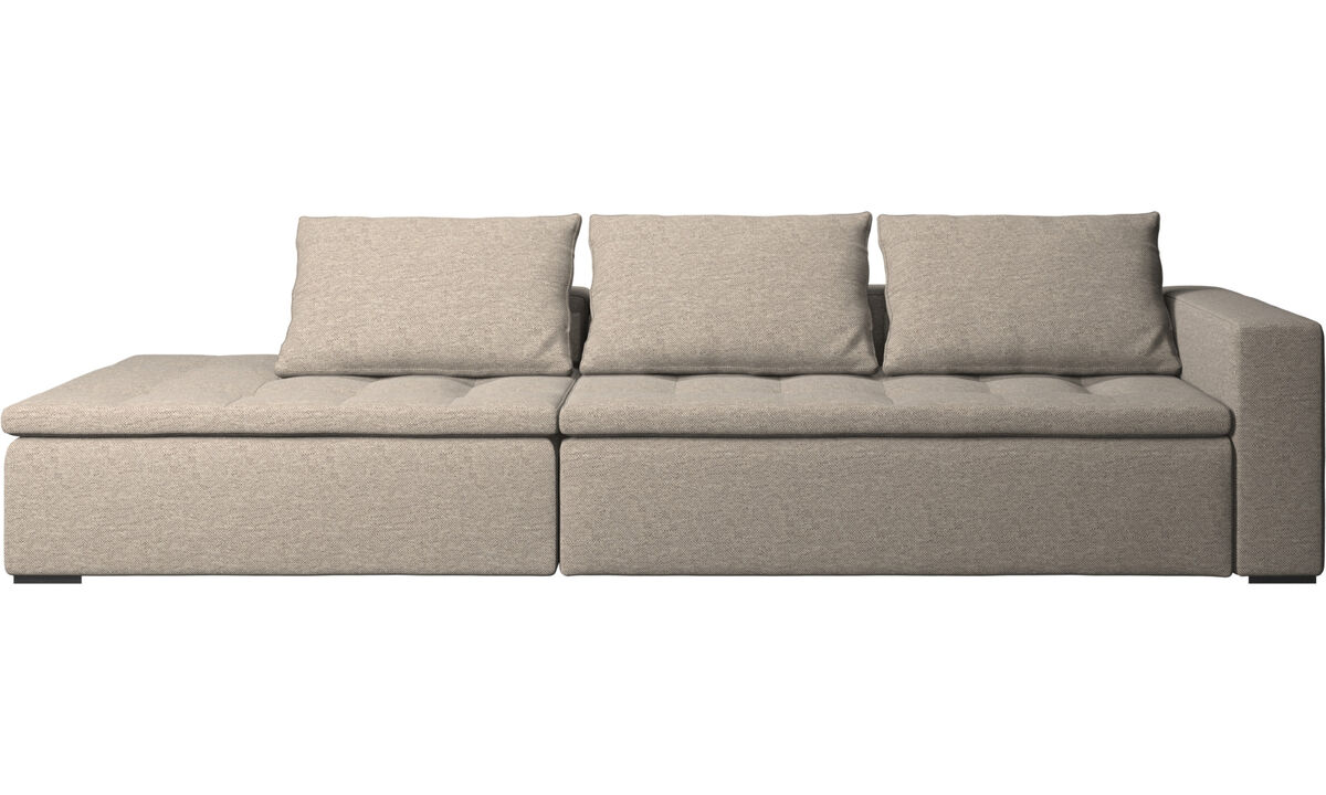 Sofas with open end - Mezzo sofa with lounging unit - Beige - Fabric