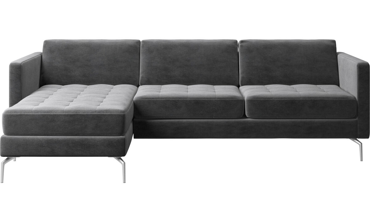 Chaise lounge sofas - Osaka sofa with resting unit, tufted seat - Gray - Fabric