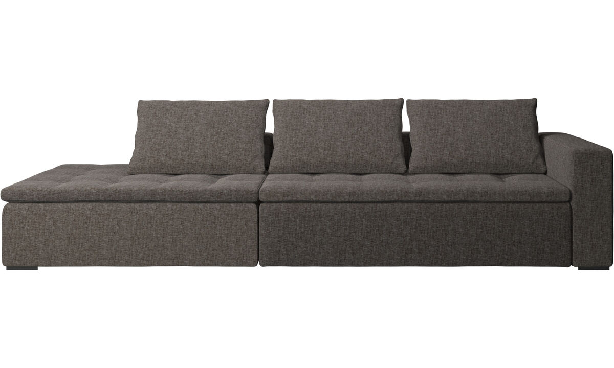 Sofas with open end - Mezzo sofa with lounging unit - Brown - Fabric