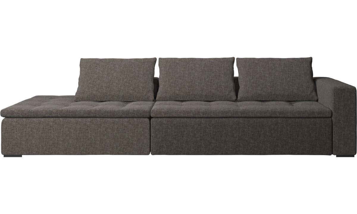 Sofás con lado abierto - Sofá Mezzo con módulo de descanso - En marrón - Tela