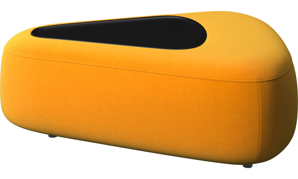 Modular sofas - Ottawa triangular pouf with tray with USB charger - Orange - Fabric