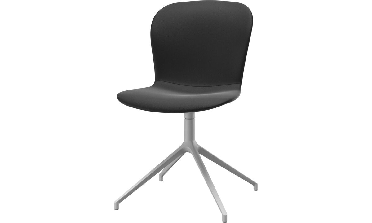 Dining chairs - Adelaide chair with swivel function - Black - Leather