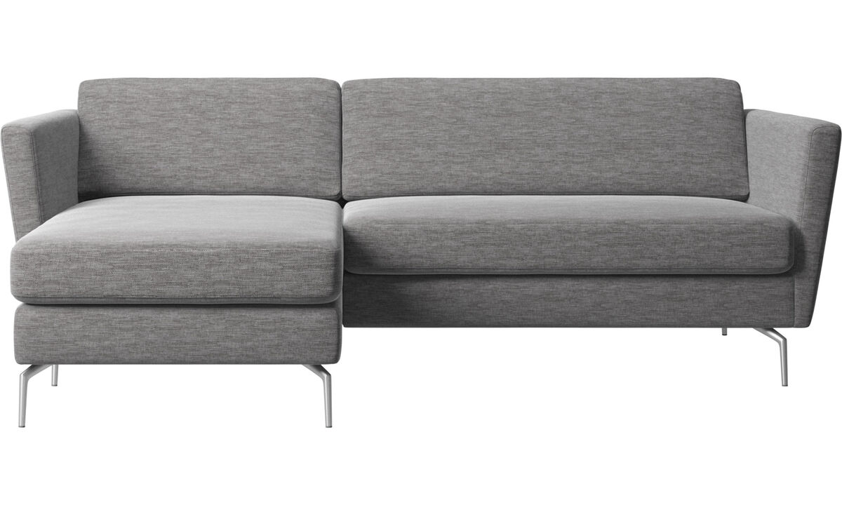 Chaise lounge sofas - Osaka sofa with resting unit, regular seat - Grey - Fabric