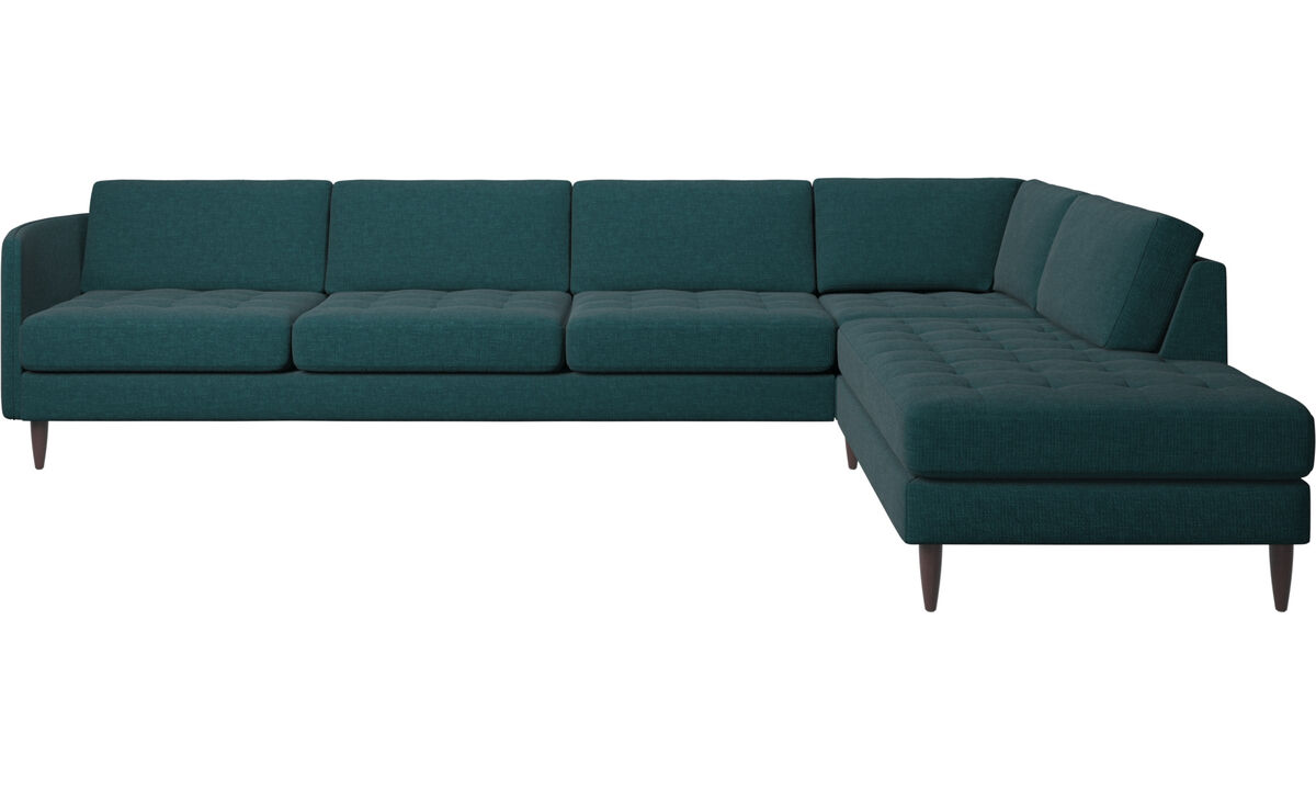 Sofás esquineros - sofá esquinero Osaka con módulo de descanso, asiento en capitoné - En azul - Tela