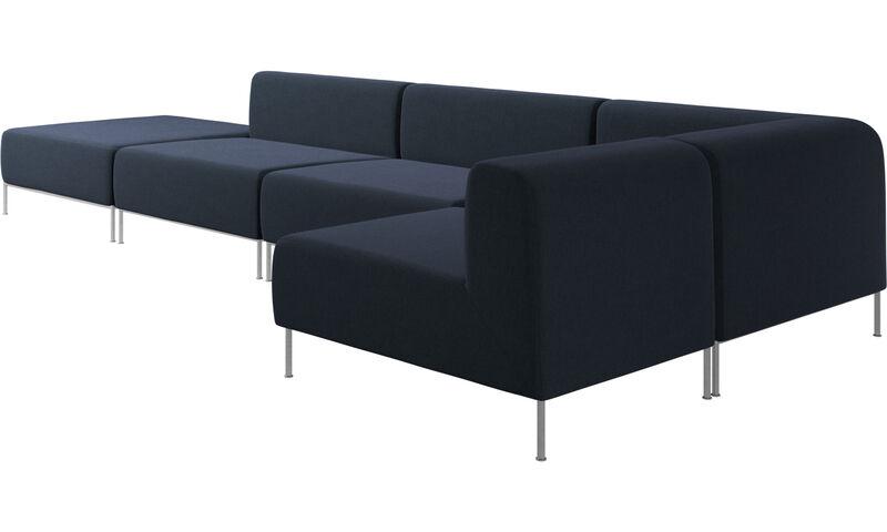 Miami corner sofa with pouf on left side