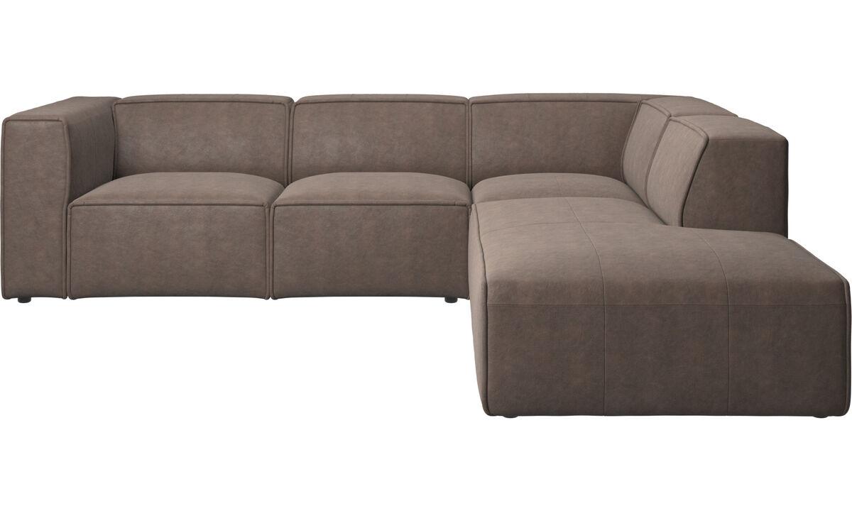 Sofás com chaise - sofa com movimento Carmo com canto - Castanho - Pele