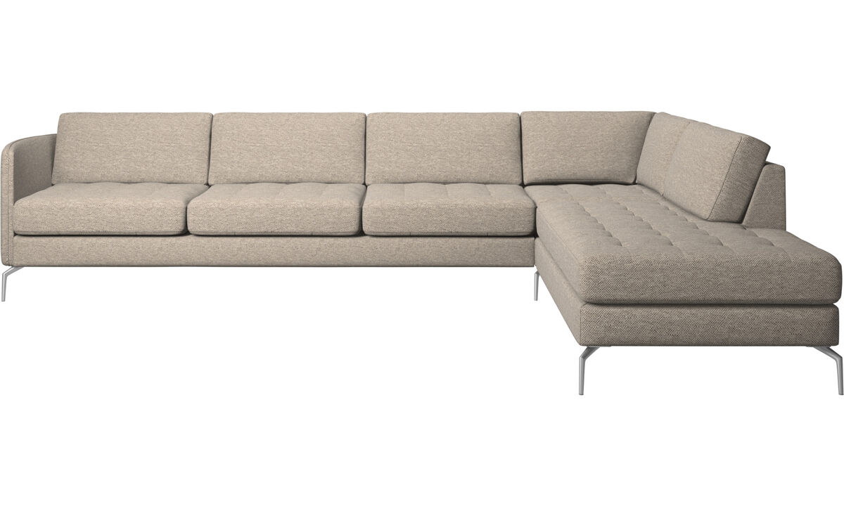 Corner sofas - Osaka corner sofa with lounging unit, tufted seat - Beige - Fabric