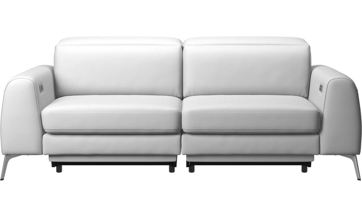 Sofas - Madison sofa with electric seat, head and footrest motion (rechargeable lithium battery included) - White - Leather