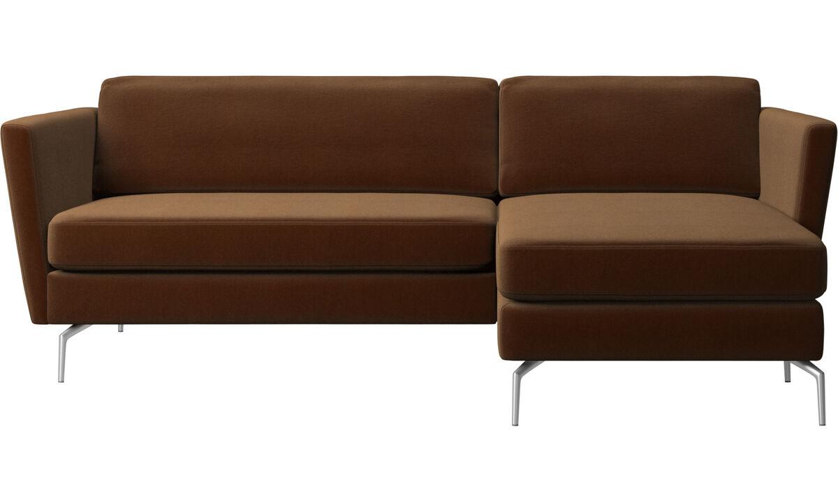 Sofás con chaise longue - sofá Osaka con módulo chaise-longue, asiento regular - En marrón - Tela