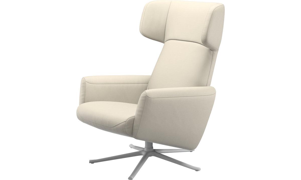 Recliners - Lucca wing reclinável com função giratória - White - Couro