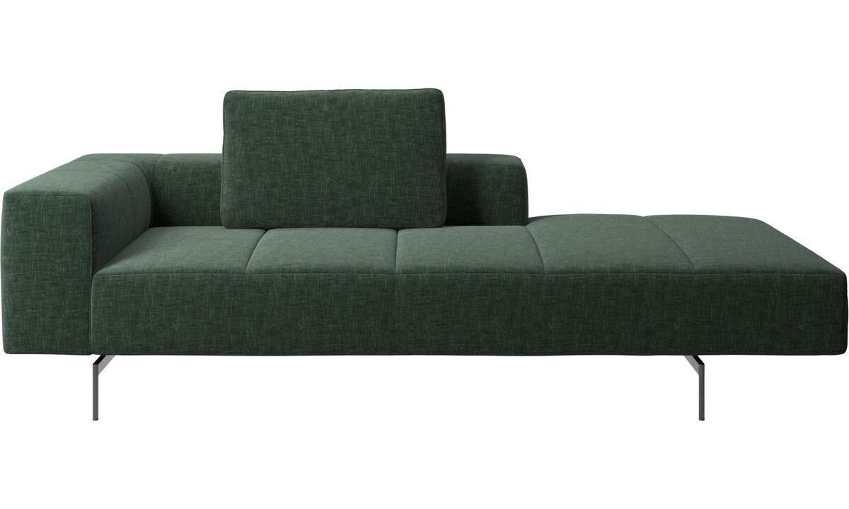 Canapés avec chaise longue - Module de canapé Amsterdam, accoudoir à gauche, chaise longue à droite - Vert - Tissu