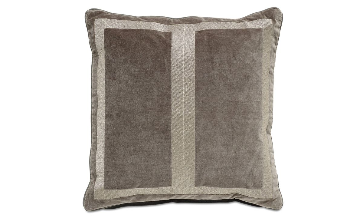 Cushions - Embroidered velvet cushion - Grey - Fabric