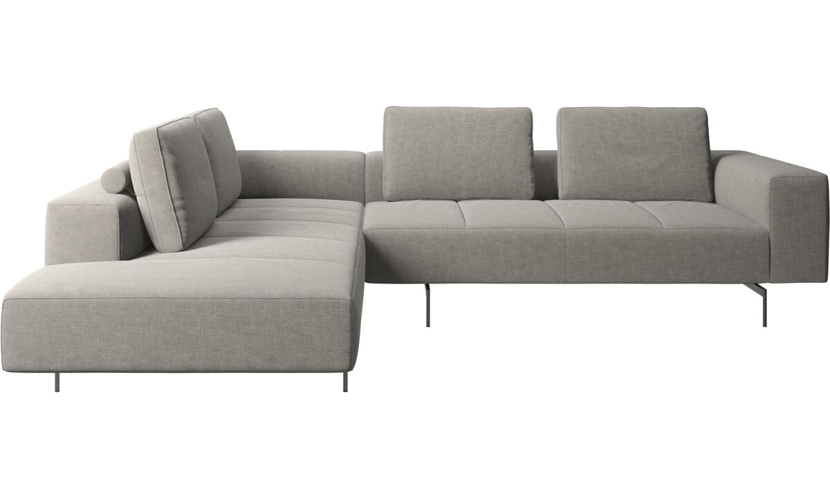 Corner sofas - Amsterdam corner sofa with lounging unit - Grey - Fabric
