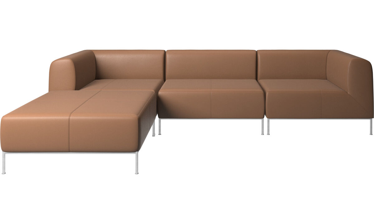 Modular sofas - Miami sofa with pouf on right side - Brown - Leather