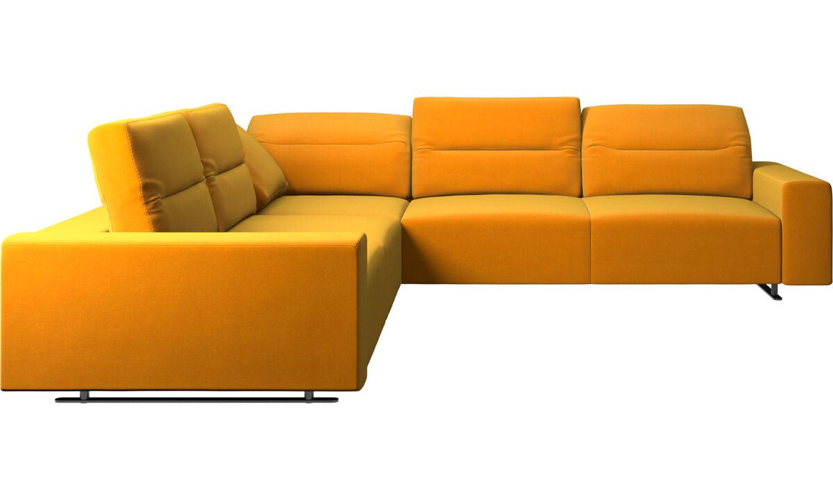 Corner & L-Shaped Sofa - Hampton corner sofa with adjustable back - Orange - Fabric